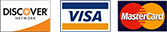 We accept Discover, Visa, and Mastercard